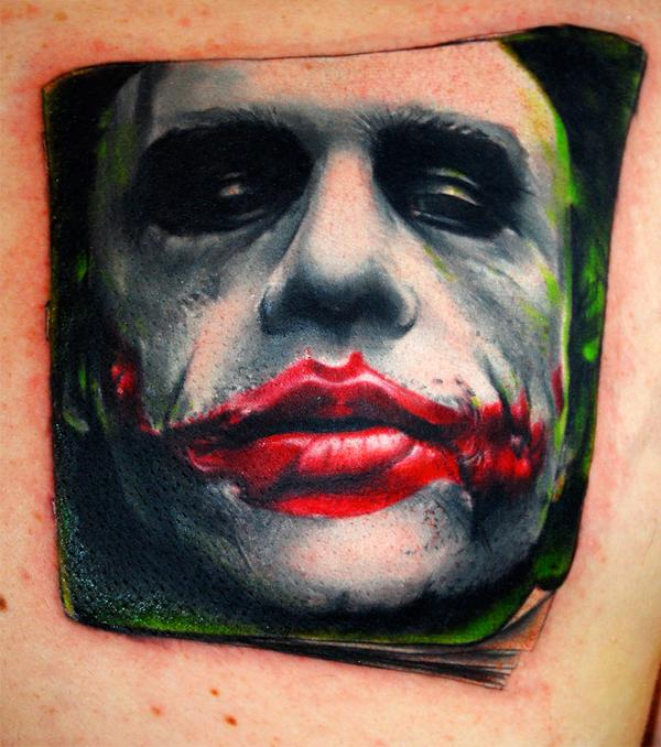 Heath Ledger's Joker tattoo by Bez at Triplesix Studios in Sunderland, ...